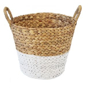 Image of Slemcka Contemporary Water Hyacinth Storage Basket (H)360mm (D)350mm
