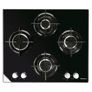 View Hotpoint 4 Burner Black Glass Gas Hob details