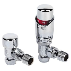 View Drayton Angled Chrome Effect Thermostatic Radiator Valve & Lockshield Set (Dia)15mm details