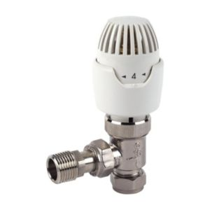 View Drayton White & Chrome Effect Angled Thermostatic Radiator Valve details