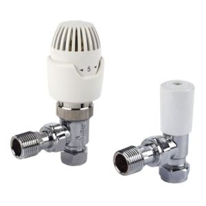 View Drayton Angled Chrome Effect Thermostatic Radiator Valve (Dia)15mm details