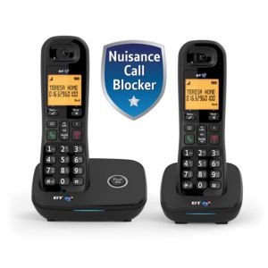 Image of BT DECT Black Telephone with Nuisance call blocker - Twin
