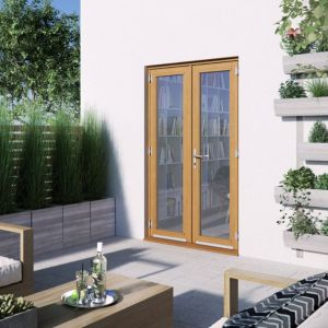 Image of 1 Lite Clear 2 panel Golden oak Hardwood External French door (H)2094mm (W)1194mm