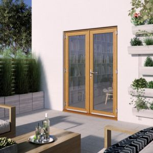 Image of 1 Lite Clear 2 panel Golden oak Hardwood External French door (H)2094mm (W)1494mm