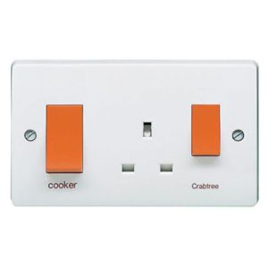 View Crabtree 2-Gang 45A White Cooker Switch & Socket details