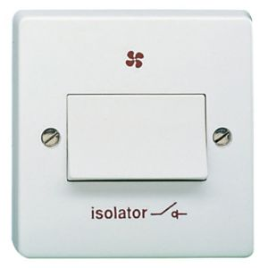 View Crabtree 1-Gang 6A White Fan Isolator Switch details