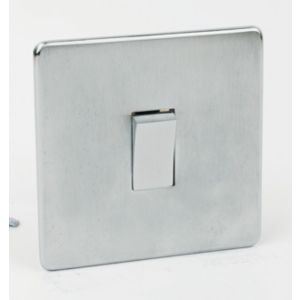 Image of Crabtree 10A 2-Way Single Brushed chrome Light Switch
