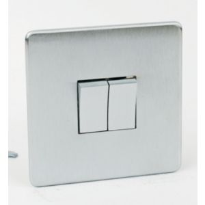 Image of Crabtree 10A 2-Way Double Brushed chrome Light Switch