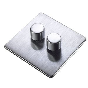 View Crabtree 2-Gang 2-Way Stainless Steel Effect Dimmer Switch details