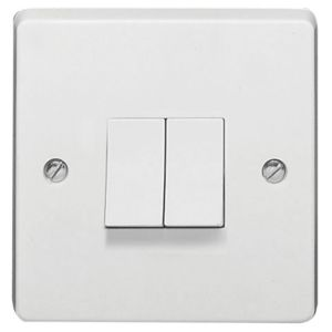 Image of Crabtree 10AX 2-Way Double White Double Light Switch
