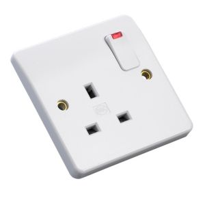 View MK Low Profile White Switched Single Neon On/Off Switch Socket details