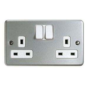 View MK 13A 2-Gang Grey Switched Socket details