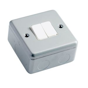 View MK 2-Gang 2-Way 10A Metal Clad Double Light Switch details