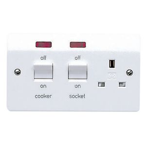 View MK 2-Gang 45A White Cooker Switch & Socket details