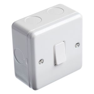 View MK 1-Gang 2-Way 13A White Single Light Switch with Box details