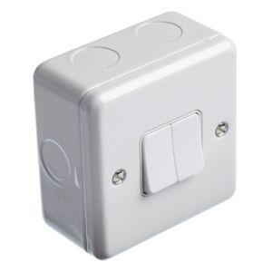 View MK 2-Gang 2-Way 13A White Single Light Switch with Box details