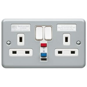 View MK Silver Raised Switched Socket, Pack of 5 details