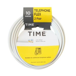 Image of Time 2 Pair Telephone Flexible Cable 0.5mm² White 10m