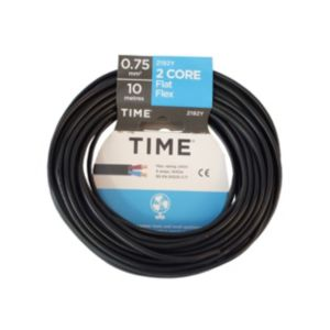 Image of Time 2 Core Flat Flexible Cable 0.75mm² 2192Y Black 10m