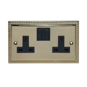 View Holder Raised Profile Brass Effect Switched Double Socket details
