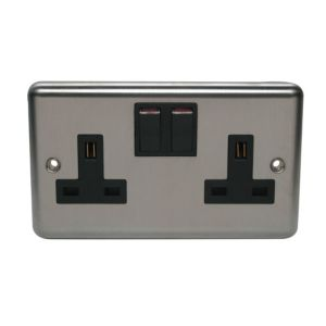 View Holder 13A 2-Gang Chrome Effect Switched Socket details