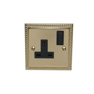View Holder 13A 1-Gang Brass Effect Switched Socket details