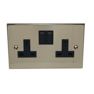 View Holder 13A 2-Gang Gold Brass Effect Switched Socket details