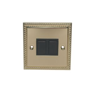 View Volex Brass Effect Rocker Double Light Switch 2-Gang 2-Way SP 10AX details