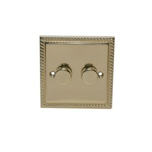 View Volex 2-Gang 2-Way Brass Effect Dimmer Switch details