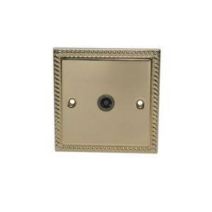 View Volex Raised Georgian Brass Effect Co-Axial Socket details