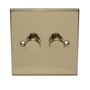 View Volex Brass Effect 2-Gang Rotary On/Off with Rotary Dimming 250W Dimmer Switch details