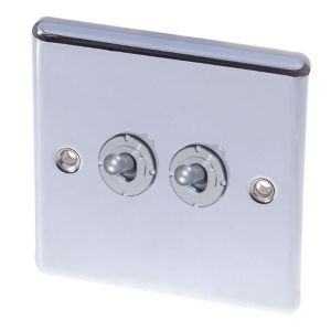 View Holder 2-Gang 2-Way 10AX Chrome Effect Double Toggle Light Switch details
