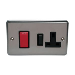 View Volex 2-Gang 45A Stainless Steel Cooker Switch & Socket details