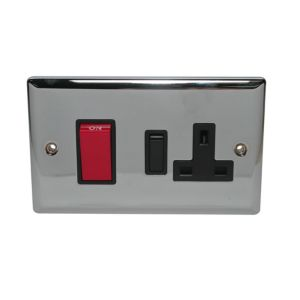 View Volex 2-Gang 45A Chrome Effect Cooker Switch & Socket details