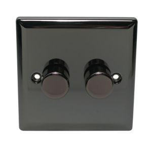 View Volex Iridium Black 2-Gang Rotary On/Off with Rotary Dimming 250W Dimmer Switch details