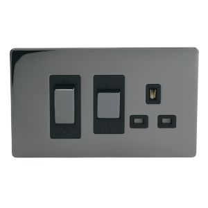 View Holder Raised Profile Iridium Effect Black Switched Double Rocker Cooker Switch & Socket details