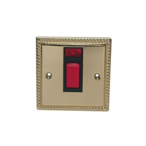 View Volex Georgian Gold 45A Switch (H)95mm (W)95mm (L)95mm details