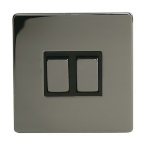 View Holder 2-Gang 2-Way 10AX Black Nickel Effect Double Light Switch details