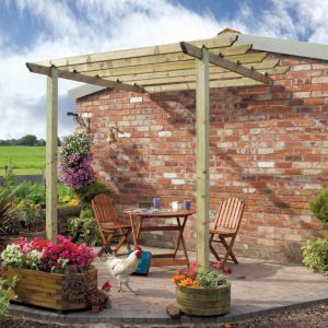Grange Traditional Sage Green Wooden Patio Pergola