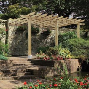 Grange Lean to Sage Green Wooden Pergola