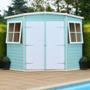 View 8X8 Corner Pent Shiplap Wooden Shed - with Assembly Service details