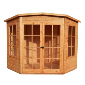 View Shire Hampton 7X7 Honey Shiplap Timber Corner Summerhouse - with Assembly Service details