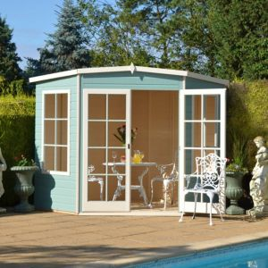 View Shire Hampton 10X10 Honey Shiplap Timber Corner Summerhouse - Assembly Required details