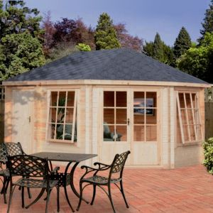 View Leygrove 14X10 28mm Tongue & Groove Timber Log Cabin - Assembly Required details