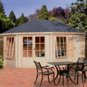 View Rowney 14X10 28mm Tongue & Groove Timber Log Cabin - Assembly Required details