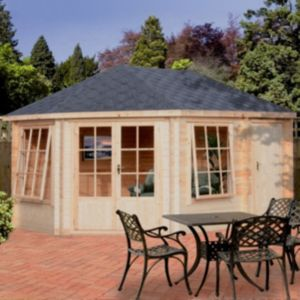 View Rowney 14X10 28mm Tongue & Groove Timber Log Cabin - with Assembly Service details