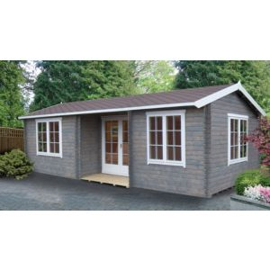 26X14 Elveden 44mm Tongue & Groove Timber Log Cabin with Felt Roof Tiles