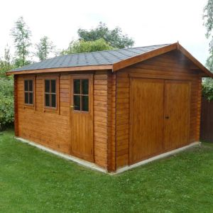 View Shire 14X15 Apex Roof Interlocking Log Garage - with Assembly Service details