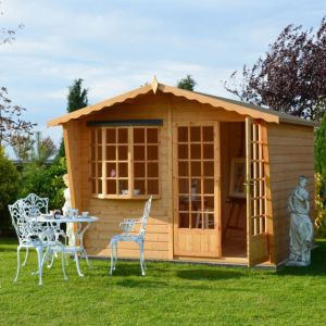 View Shire Sandringham 10X10 Honey Shiplap Timber Summerhouse - with Assembly Service details