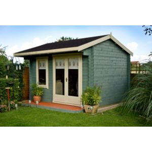 12X14 Marlborough 28mm Tongue & Groove Timber Log Cabin with Felt Roof Tiles with Assembly Service